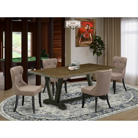 V677SI121-5 5-Pc Dining Table Set- 4 Dining Chairs with Blue Linen Fabric Seat and Button Tufted Chair Back