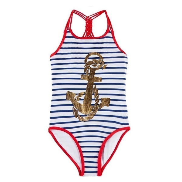 Jantzen Little Girl Nautical Anchor Print Bikini with Ruffle
