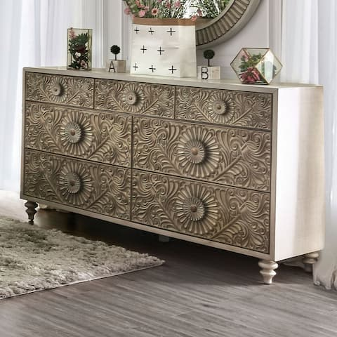 The Curated Nomad Cadogen Traditional Antique White 7-drawer Dresser
