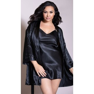 Plus Size Charmeuse Babydoll And Robe Set, Plus Size Charmeuse Low Back Sleepwear Babydoll And Matching Robe