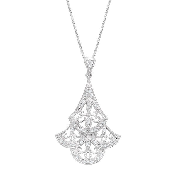 1/8 ct Diamond Scalloped Filigree Fan Pendant in Sterling Silver