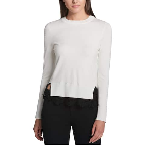 DKNY Womens Lace Trim Pullover Sweater, White, X-Large
