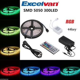5M 5050 RGB SMD Flexible LED Strip 12V 300LEDs 44Key IR Remote Control US Plug
