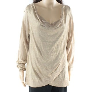 INC NEW Gold Glitter Metallic Women's Size XL Cowl Neck Draped Sweater