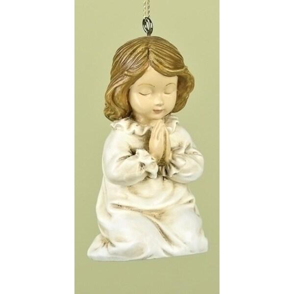 "3.54"" Winter Whispers Religious Girl Saying A Prayer Christmas Ornament - WHITE"