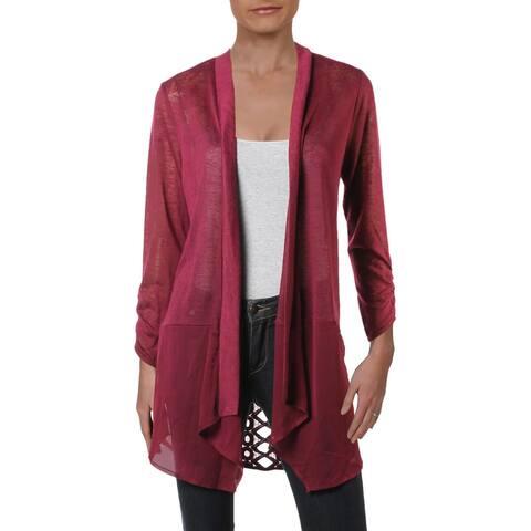 Avec Womens Cardigan Sweater Lace Back Sheer-Hem