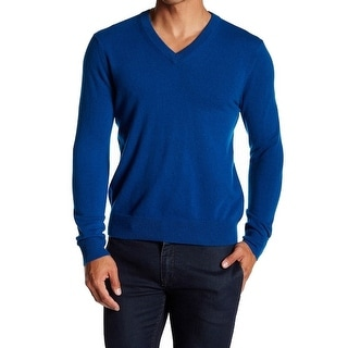 Qi NEW Blue Mens Size Large L V-Neck Cashmere Solid Pullover Sweater