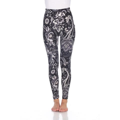 Printed Leggings - Black & White Paisley