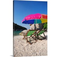 Premium Thick-Wrap Canvas entitled Deck chairs on a beach in Koh Nang Yuan, Thailand.
