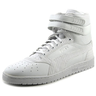 Puma Sky II Hi Mono Texture Men Round Toe Leather White Sneakers