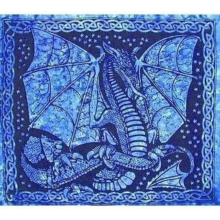 Handmade 100% Cotton Celtic Dragon Tapestry Tablecloth Coverlet Blues 84x90 Twin