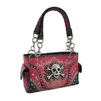 Embroidered Concealed Carry Rhinestone Skull Studded Purse