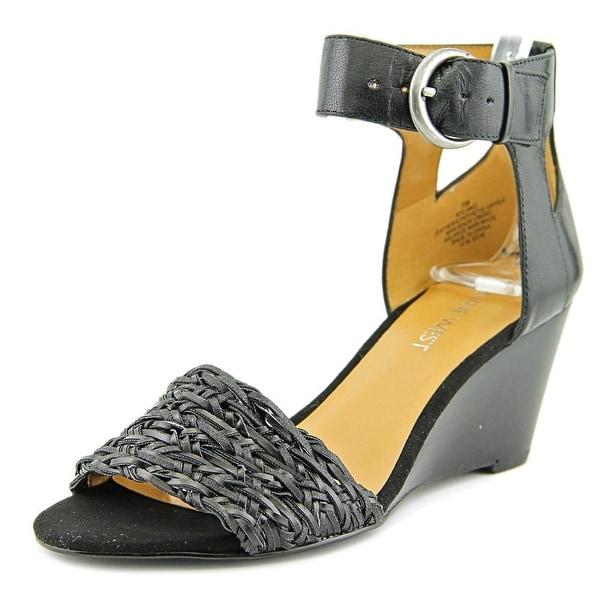Nine West Rylano Women Open Toe Leather Black Wedge Sandal