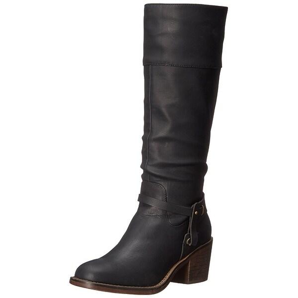 XOXO Womens MARISA Square Toe Mid-Calf Cowboy Boots