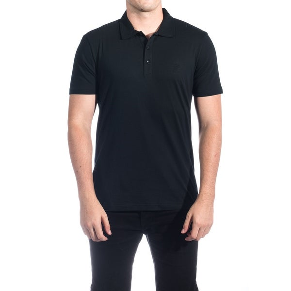 Versace Men's Cotton Medusa Logo Polo Shirt Black