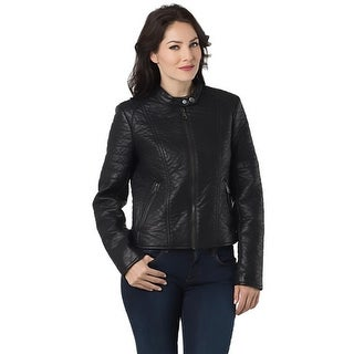 Marc New York Womens Gemma Motorcycle Jacket Faux Leather Lined