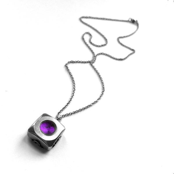 Loralyn Designs Square Stainless Steel Filigree Wrapped Pendant Necklace - Purple