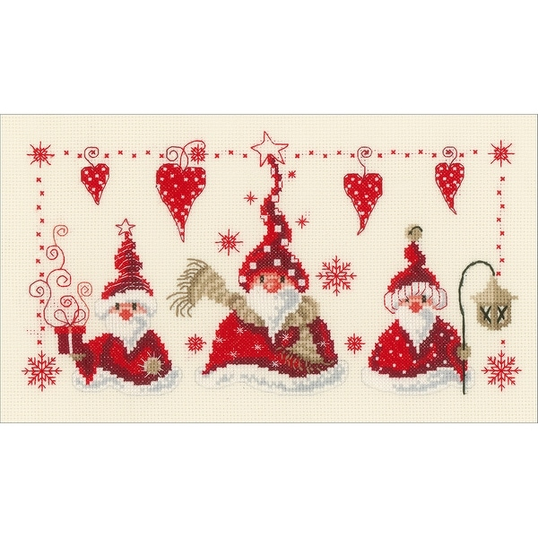 "Cheerful Santas On Aida Counted Cross Stitch Kit-11.6""X6.8"" 14 Count"