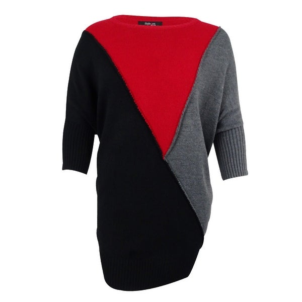 d6f9b8e1a4 Shop Style   Co. Women s Plus Size Colorblocked Dolman-Sleeve Tunic Sweater  - new red armore combo - Free Shipping On Orders Over  45 - Overstock -  17019304