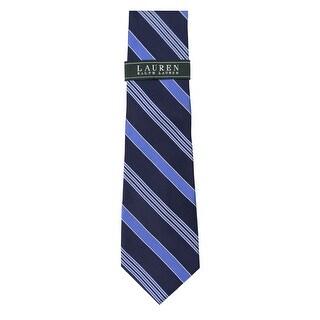 Ralph Lauren Hand Made Blue Striped Classic Silk Tie Necktie