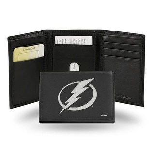 4 Black And White NHL Tampa Bay Lightning Embroidered Trifold Wallet N A
