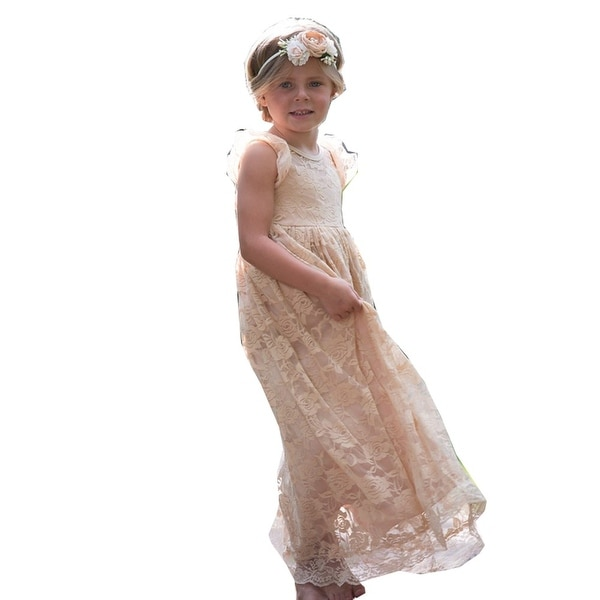 Think Pink Bows Baby Girls Champagne Closed Back Stella Flower Girl Dress 1Y