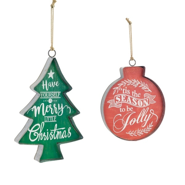 Pack of 4 Green and Red Christmas Tree and Ornament Wall Hanging Signs 15""