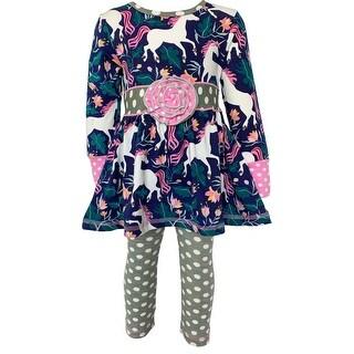 Link to AnnLoren Baby Big Girls Boutique Original Unicorn Polka Dot Cotton Fall Winter Dress Leggings Set Outfit Similar Items in Girls' Clothing