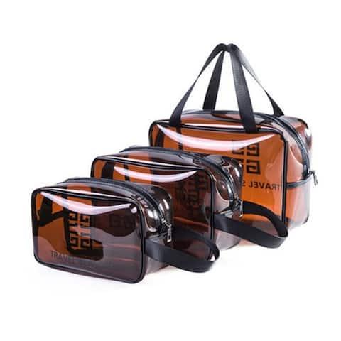 3-Pack Multifunctional Portable Transparent Cosmetic Bag