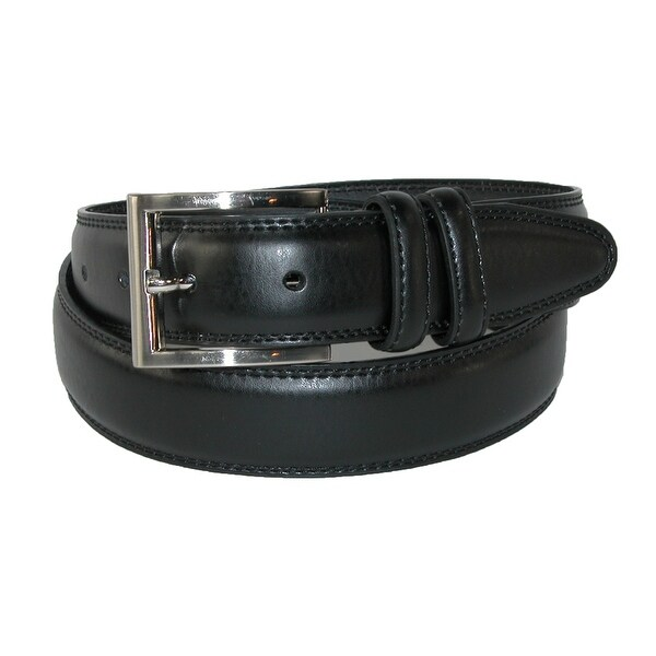 Aquarius Men's Leather 32mm Double Keeper Padded Belt with Satin Buckle