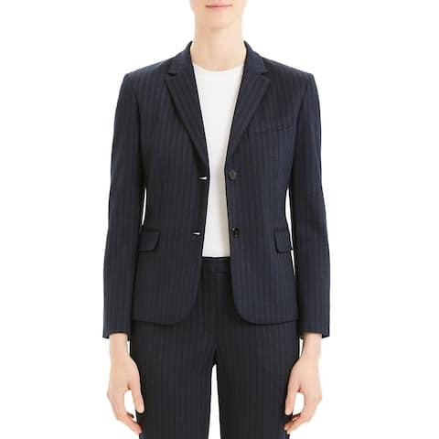 Theory Womens Shrunken Two-Button Blazer Stripe Suit Separate - Blue