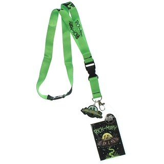 Rick And Morty Spaceship Pattern Lanyard With Charm And ID Holder - One Size Fits most