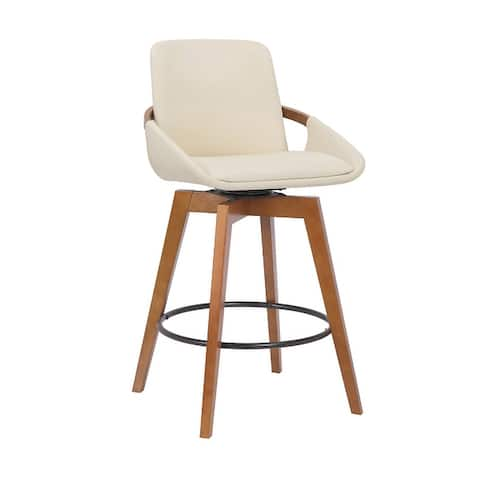 Baylor Swivel Wood Bar or Counter Height Stool in Faux Leather