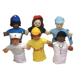 Children's Factory Multi-Ethnic Career Hand Puppets, 9 Inches, Set of 6
