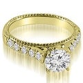 2.00 cttw. 14K Yellow Gold Vintage Cathedral Round Cut Diamond Bridal Set - Thumbnail 1