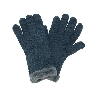 Grand Sierra Women's Cable Knit Glove with Faux Fur Lining - One Size