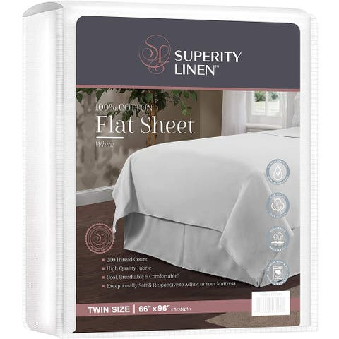 Superity Linen Cotton Flat Sheet White - Hypoallergenic and Breathable, White Flat Sheets Twin Size (66x96) (White, Twin)