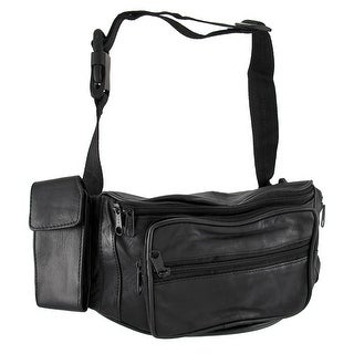 Black Leather waist Pack with Phone/Water Bottle Holders