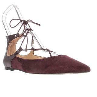 Sam Edelman Rosie Pointed Toe Lace Up Ballet Flats, Wine Suede