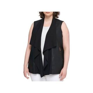 Tommy Hilfiger Womens Plus Vest Faux-Leather Drapey