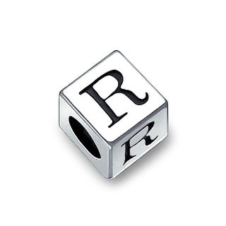 Bling Jewelry 925 Sterling Silver Block Letter R Bead Charm