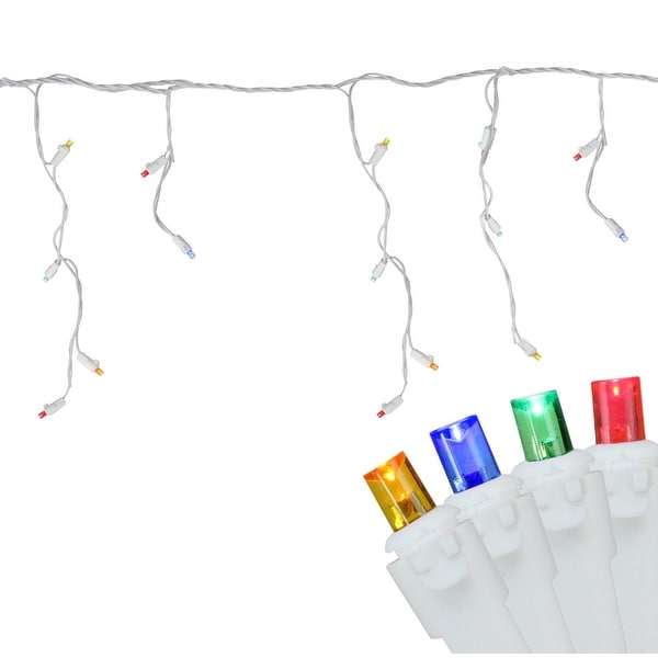 Set of 100 Multi-Color LED Wide Angle Icicle Christmas Lights - White Wire - multi