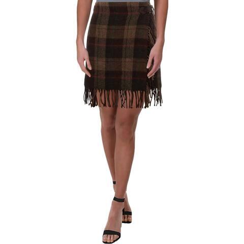 Polo Ralph Lauren Womens Wrap Skirt Plaid Fringe - 12
