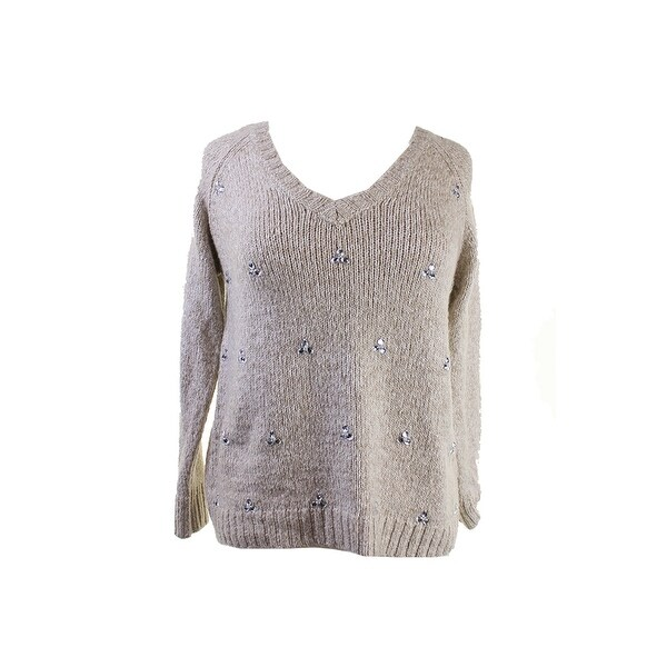 Kensie Oatmeal Long-Sleeve V-Neck Embellished Sweater S