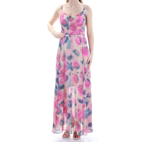 RACHEL ROY Womens Pink Sheer Acid Wash Spaghetti Strap V Neck FullLength Sheath Dress Size: 2