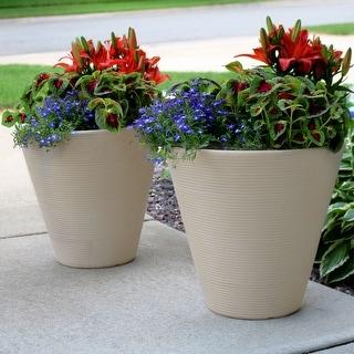 Sunnydaze Walter Outdoor Flower Pot Planter - Beige Finish - 16-Inch - 2-Pack - Set of 2