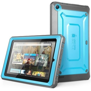 Amazon Fire 7 Case, Supcase, Amazon FIre 7 Tablet, Unicorn Beetle Pro, Fire 7 Case,Protective Case -Blue/Black