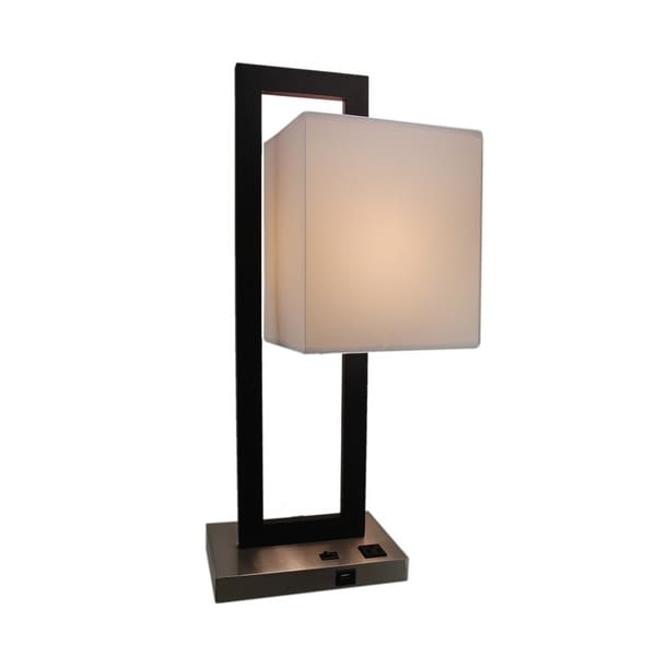 Black And Silver Modern Table Lamp With USB Port And Power Outlet
