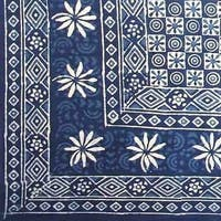 Handmade 100% Cotton Dabu Indian Tapestry Tablecloth Spread Twin Full Indigo Blues C