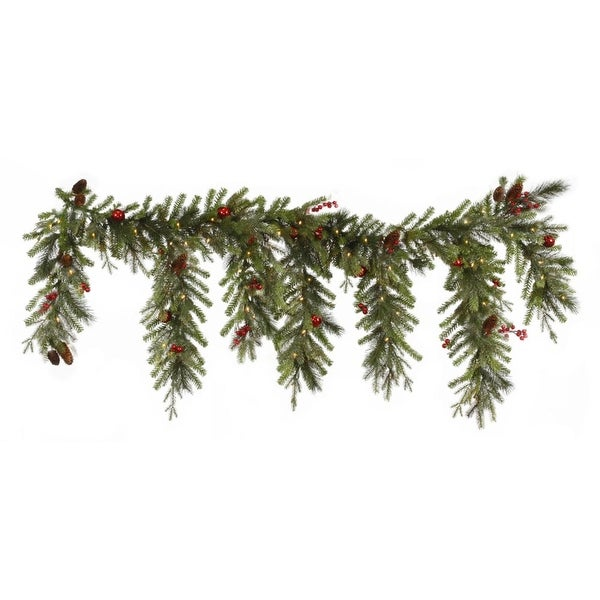 """6.5' x 35"""" Pre-lit Red Berry & Ball Ornament Mixed Pine Artificial Christmas Garland - Clear Lights"""